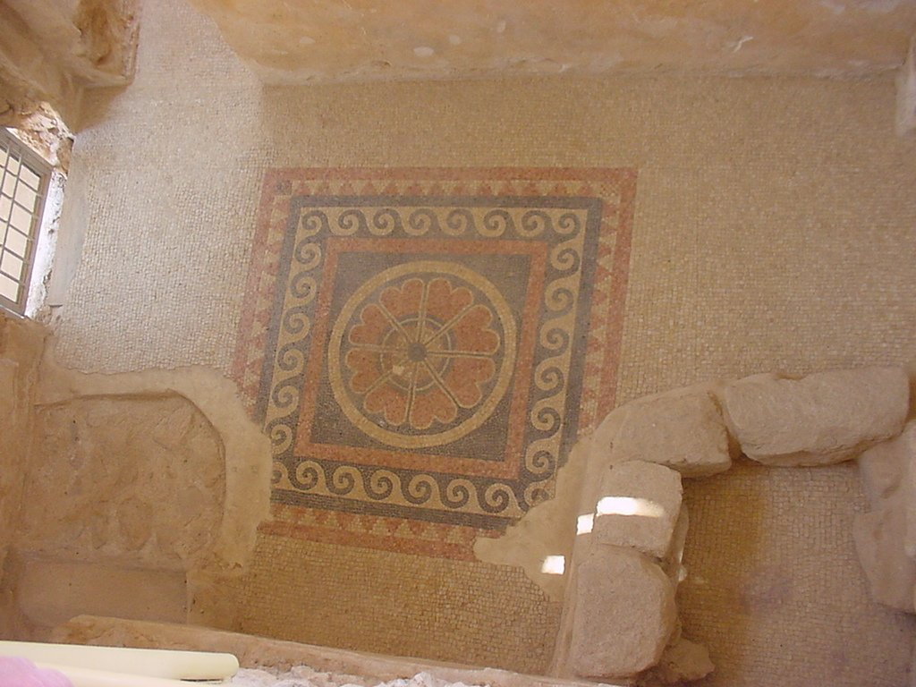 A mosaic on the floor of a bath at Masada