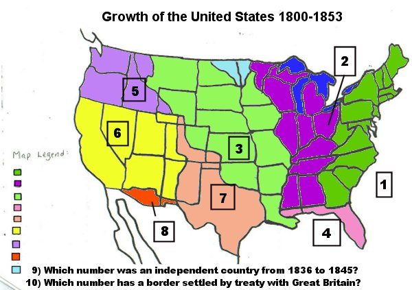 Growth Of The Us Map Activity