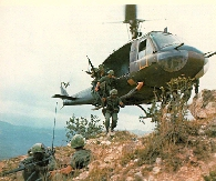 Image: Huey helicopter in the Bush